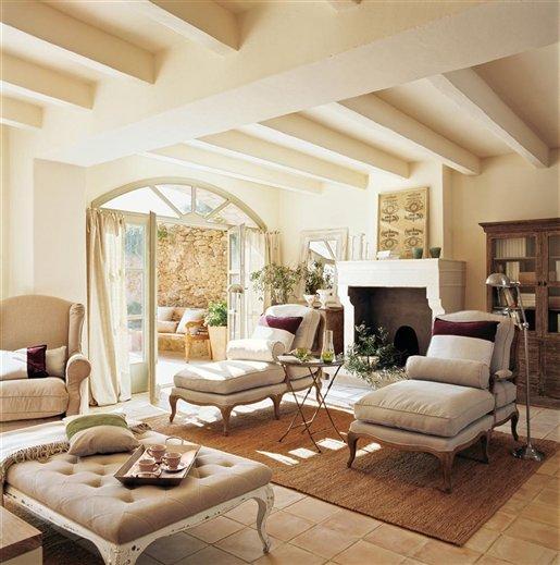 Una sala de estar r stica y afrancesada - El mueble chimeneas ...