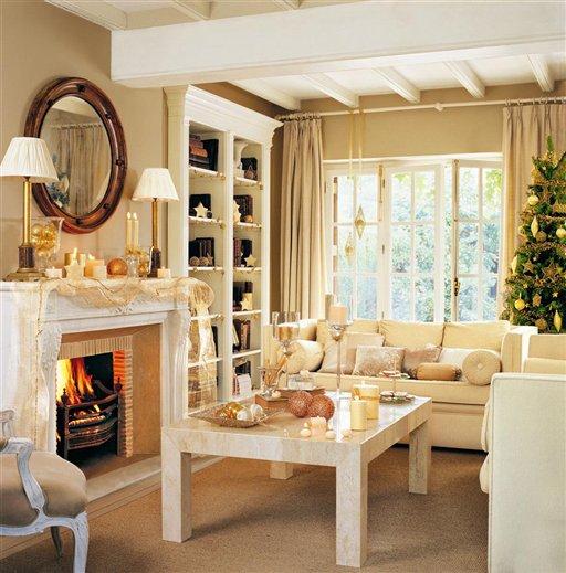Una casa de navidad con reflejos dorados - El mueble chimeneas ...