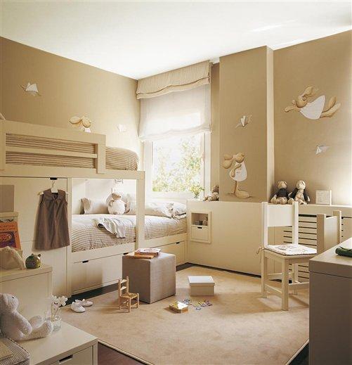 Decoraci n de la casa externa habitacion bebe tonos beige - Decorar habitaciones infantiles pequenas ...