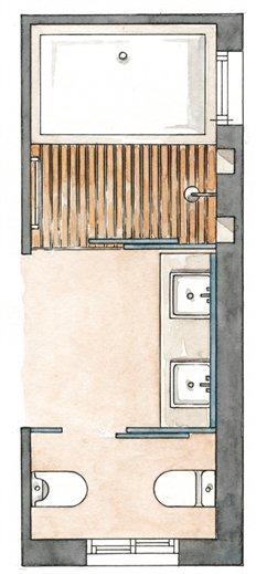 Reforma Baño Estrecho:Bañera y ducha en paralelo para baños estrechos