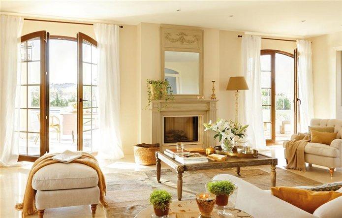Una casa especial con mucho para aprender - Salon con chimenea ...