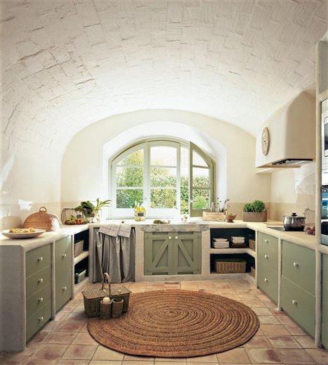 Cocina en blanco y verde