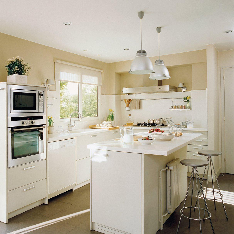 blanca cocina con una isla con dos taburetes