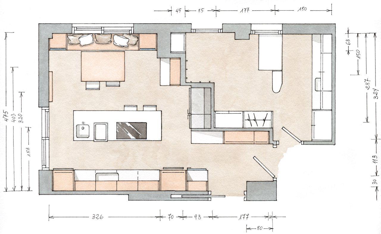Medidas isla cocina dise os arquitect nicos for Planos de cocinas 4x4
