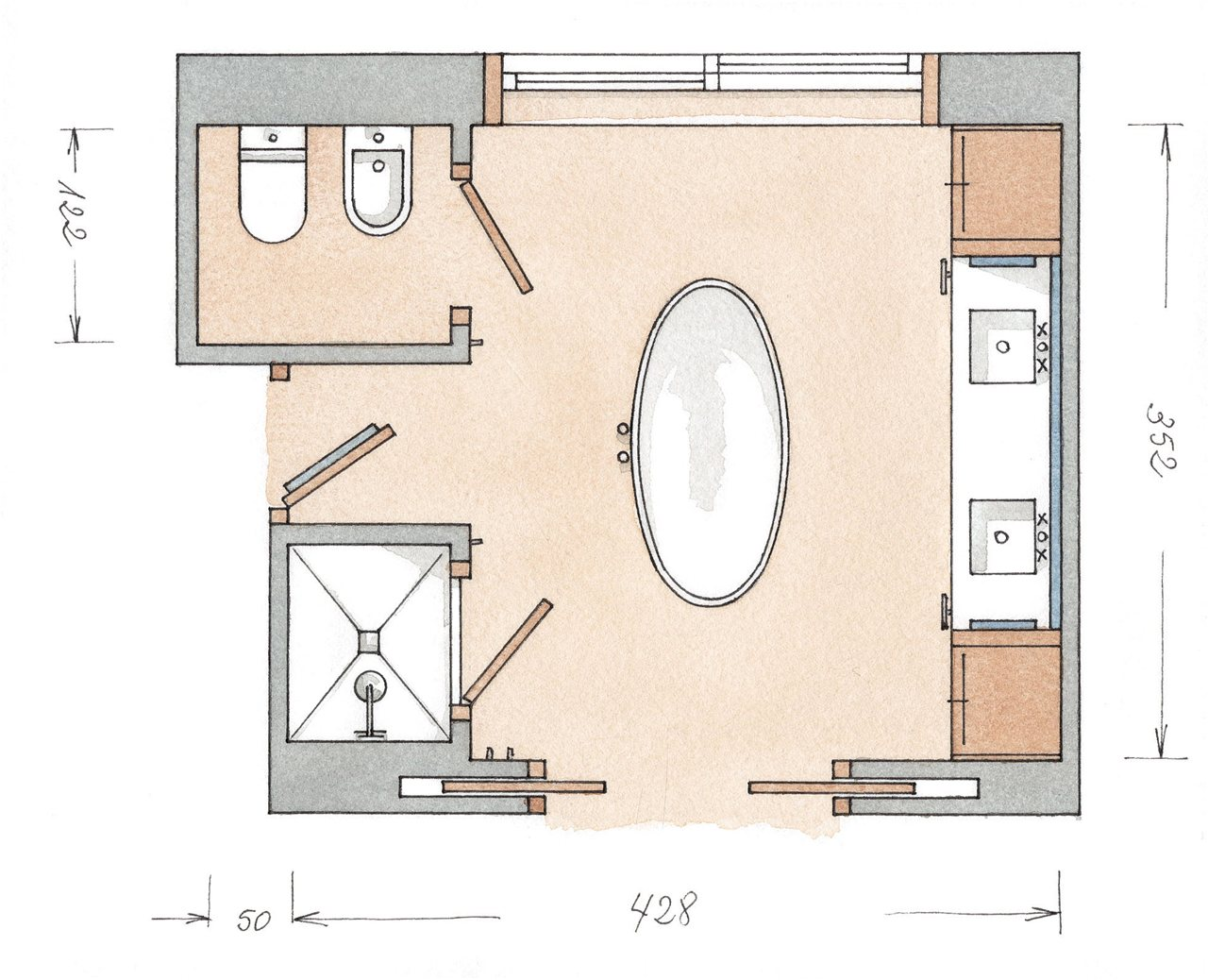 Baños Medidas Planos:Con la calidez de la madera