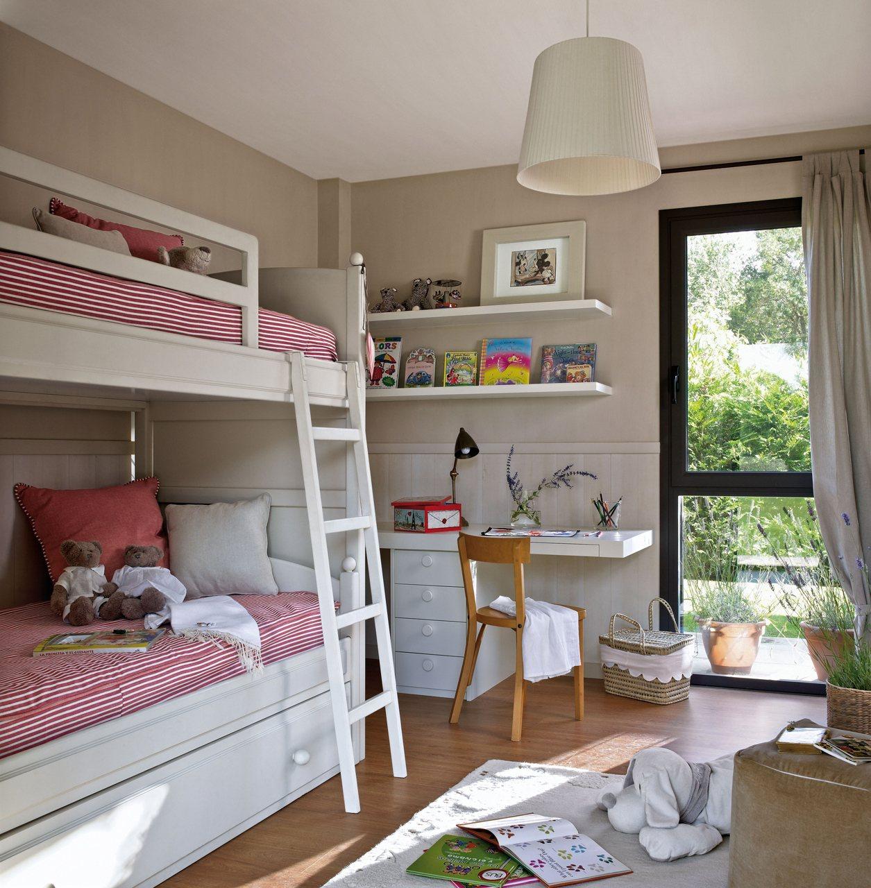 Dormitorios infantiles peque os s cales partido for Literas con cama nido ikea