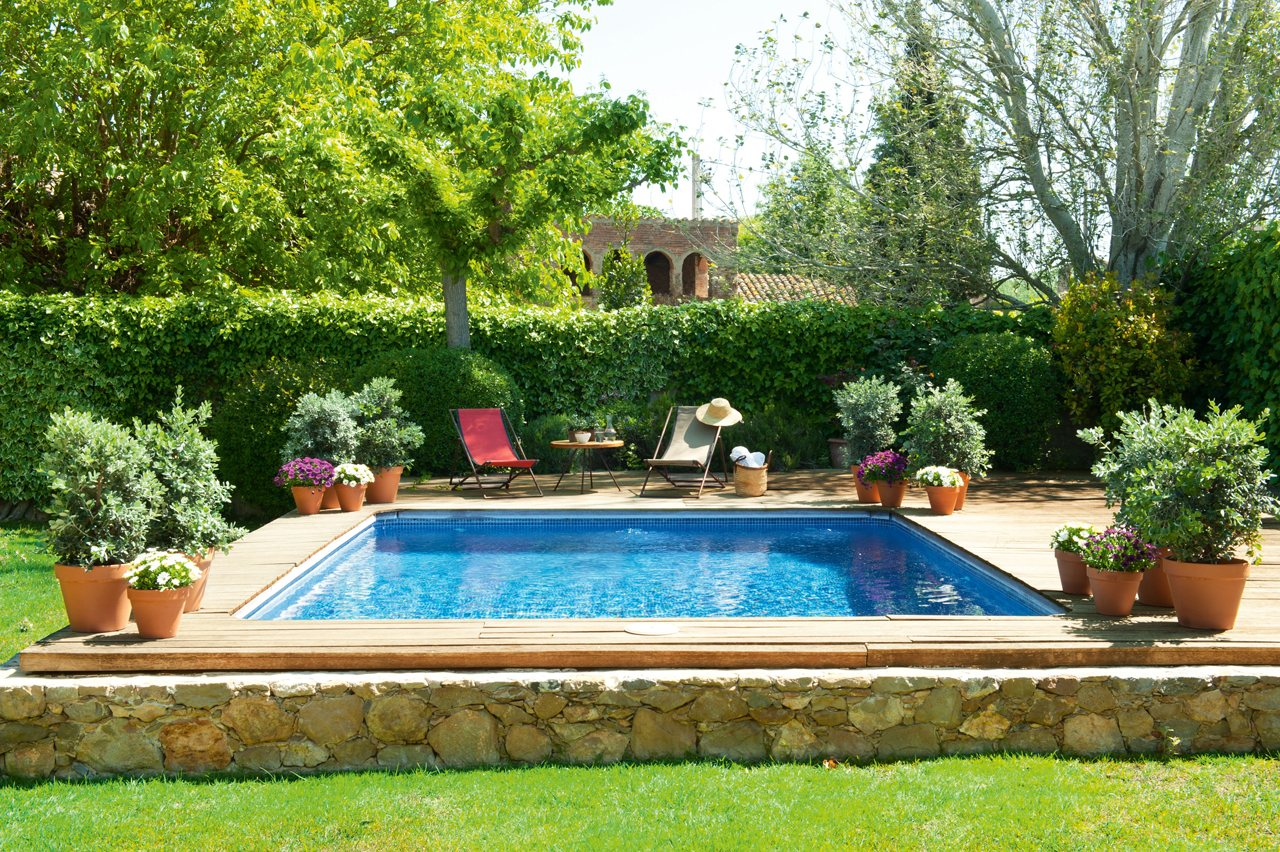 garden with swimming pool designs with Granero Convertido Una Acogedora Casa Rustica on impressionslandscape furthermore Modern Dining Room Area Ideas Design likewise theswimmingpond pany co also Project cole together with Stock Photos Outdoor Glass Table Chairs Image13841943.