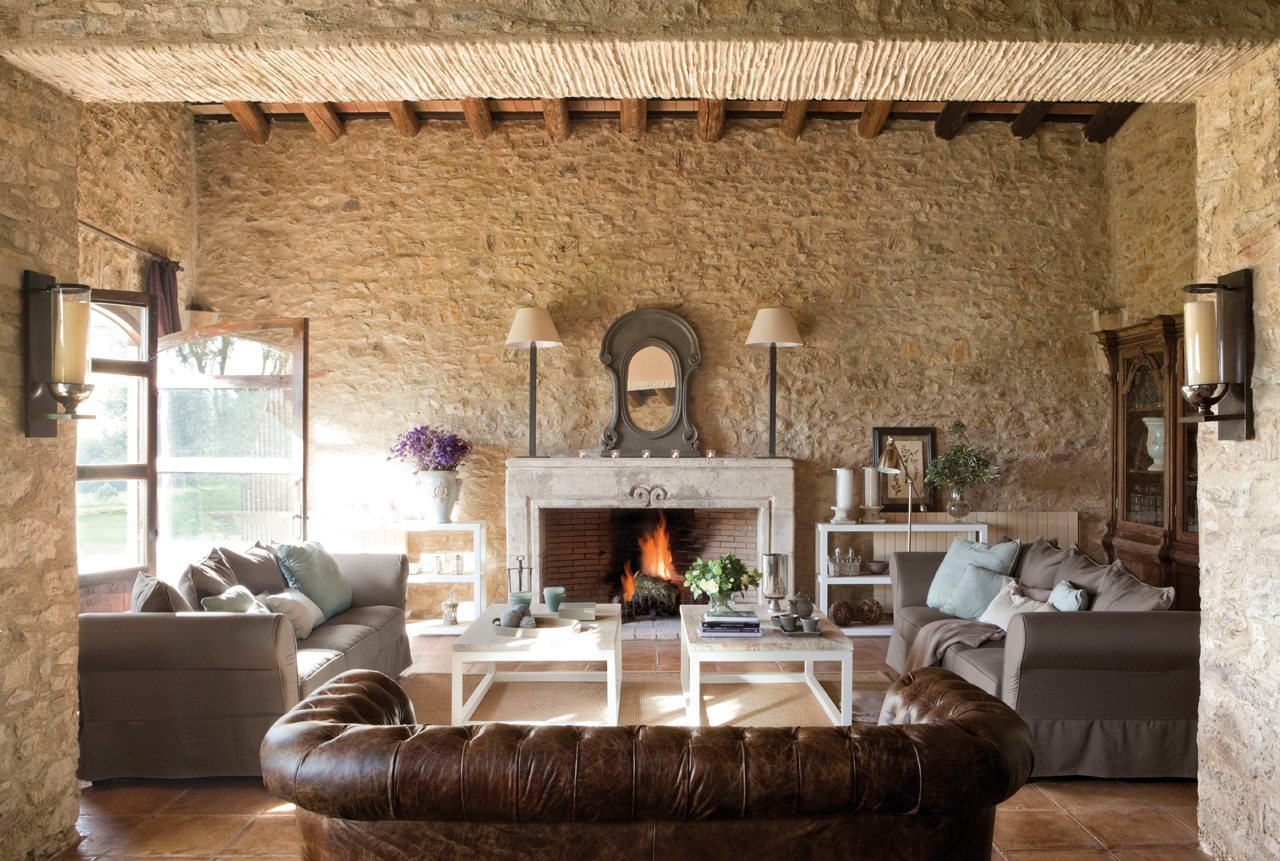 15 Ideas Para Decorar Salones Rusticos - Como-decorar-un-salon-con-chimenea