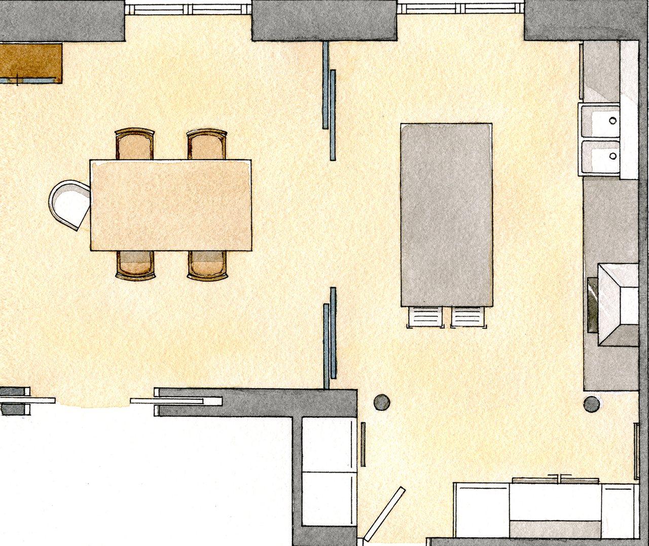 Reforma de una cocina abierta al comedor con un toque retro for Planos de la cocina