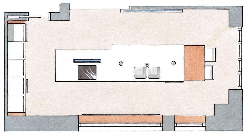 Una cocina moderna pr ctica y c lida for Planos de la cocina