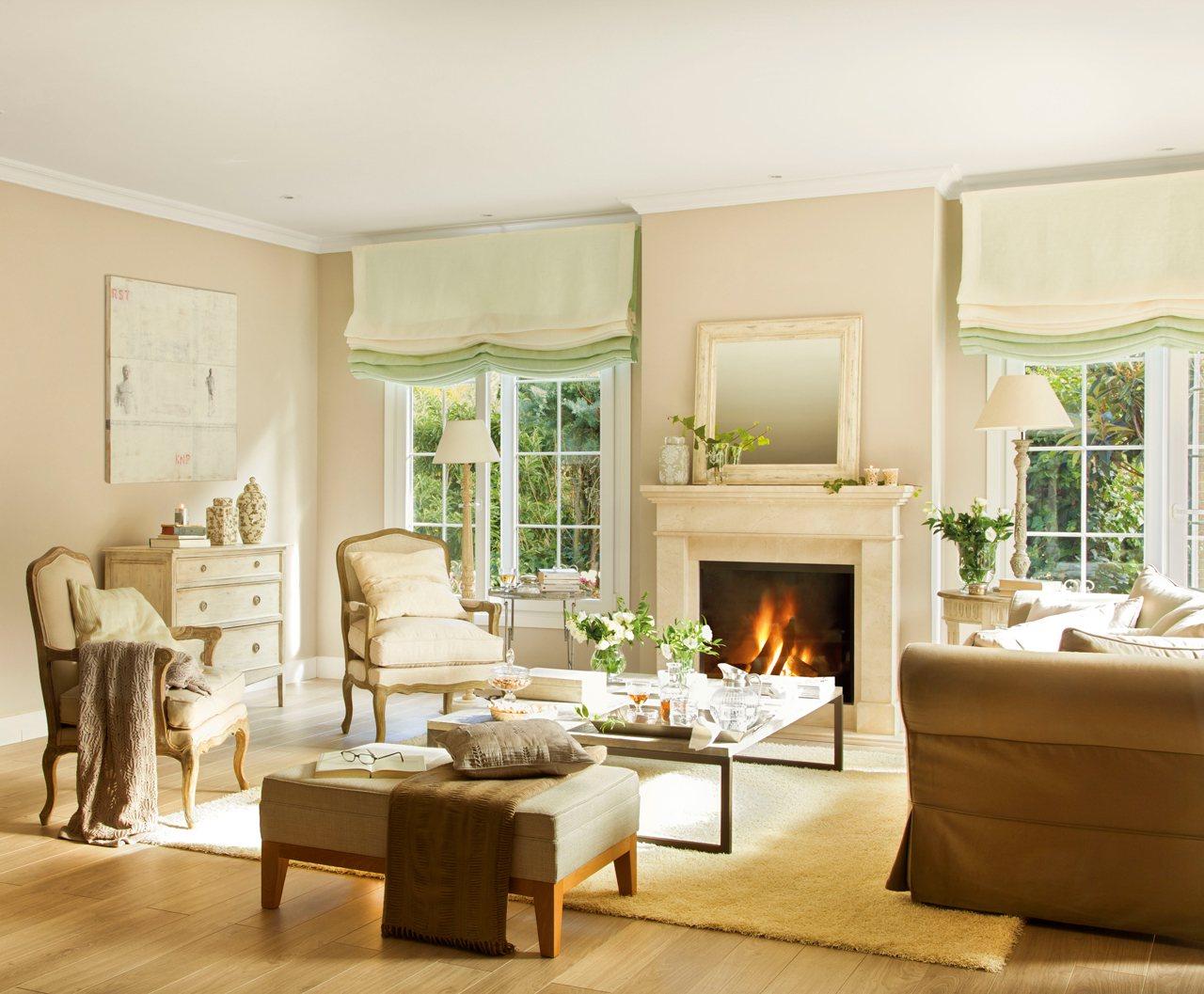 50 consejos para ahorrar en casa - Salon con chimenea ...