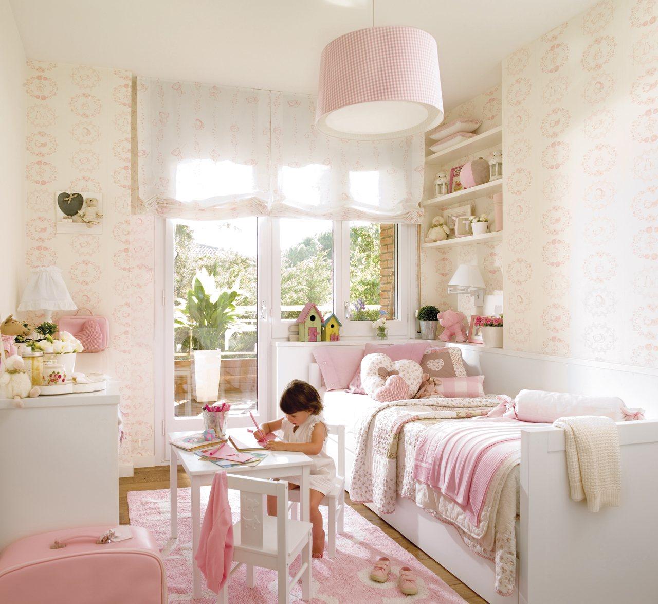dormitorio en color rosa empapelado dormitorio infantil en tonos claros y rosa