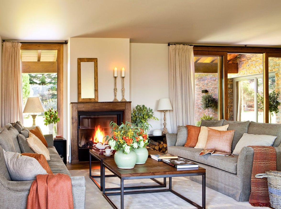 15 Salones Con Chimenea Para El Invierno ~ Muebles Con Chimenea Artificial