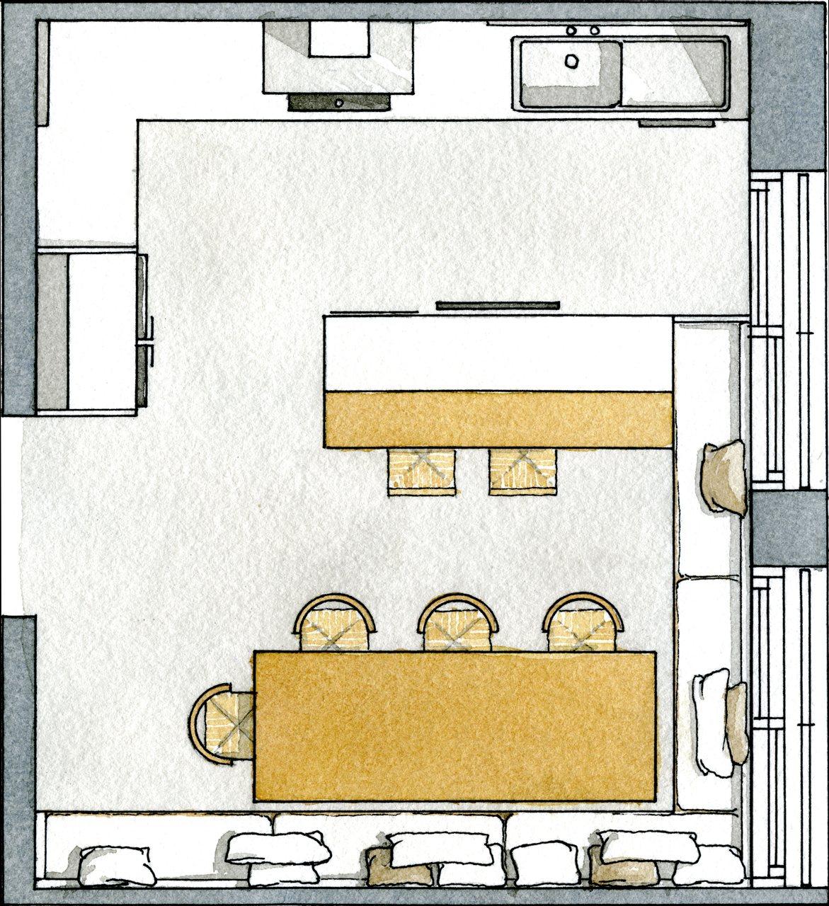 Una cocina c lida donde reunir a la familia for Plano de cocina de 3x5