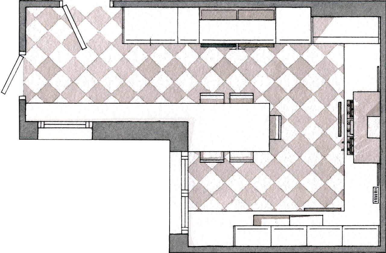 Memoria y renovaci n en la cocina for Plano de pieza cocina y bano
