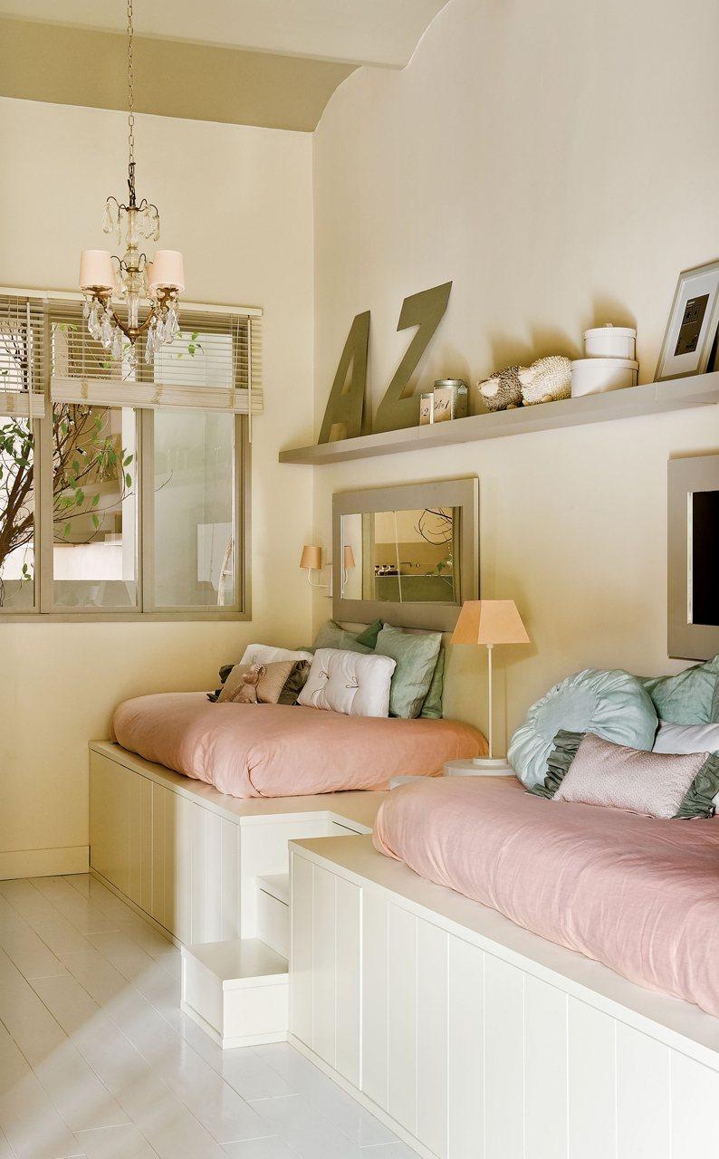Piso con patio de estilo femenino - Medidas camas infantiles ...