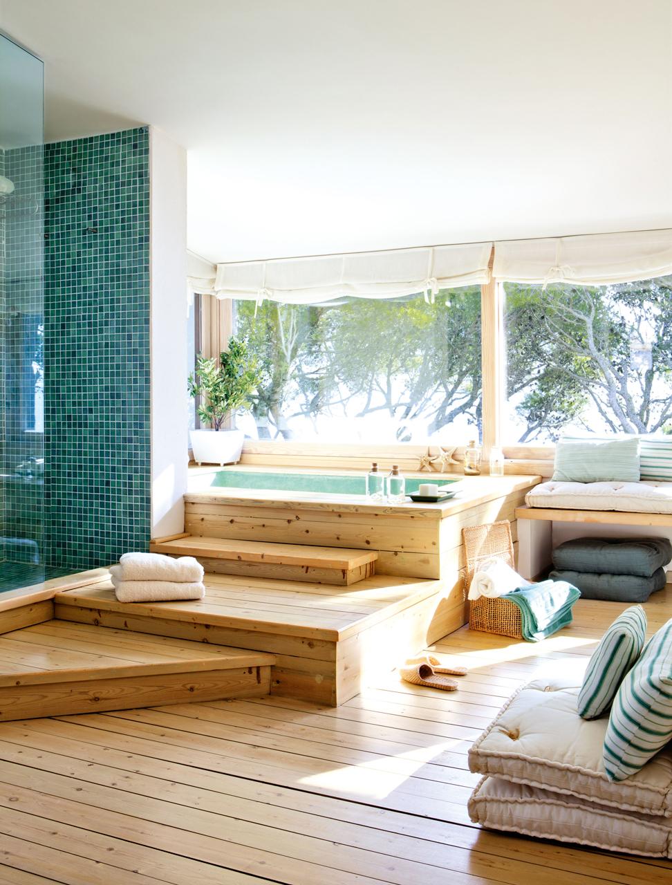El abc de la casa ecol gica - Banos con suelo de madera ...