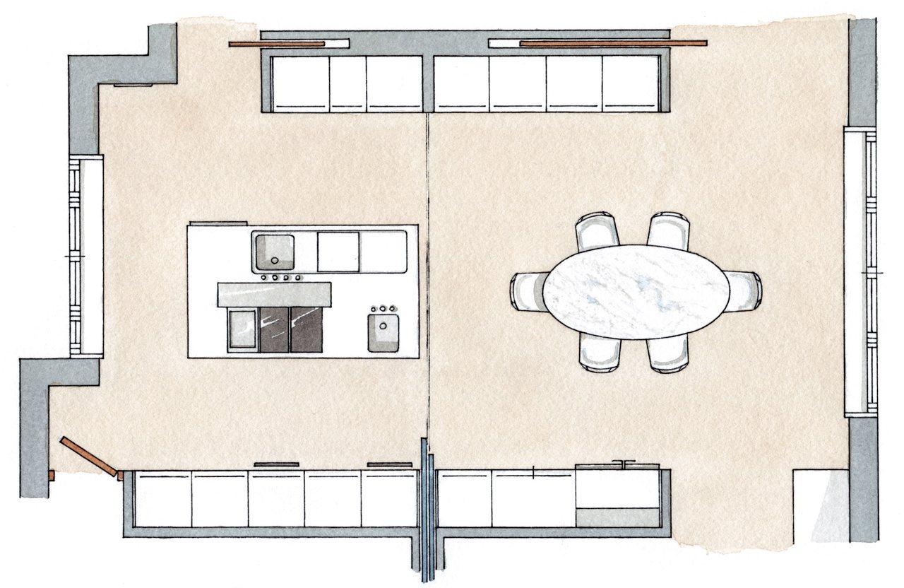 Una cocina luminosa y muy completa for Planos para una cocina