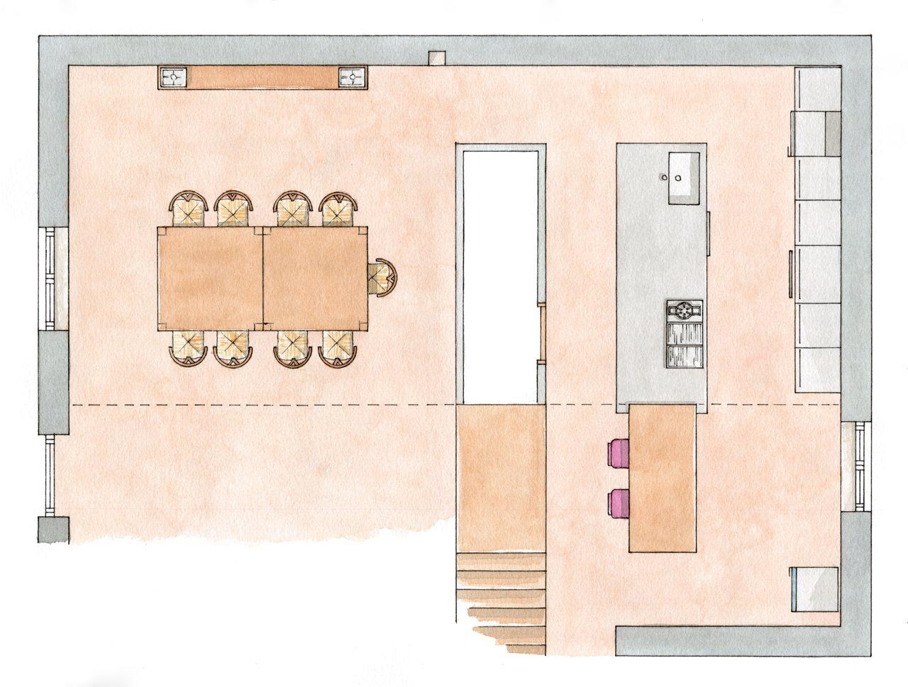 Una cocina r stica actualizada for Planos de cocina salon