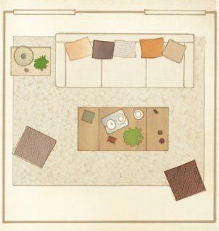 Plano del salon con gran sofa 309x327