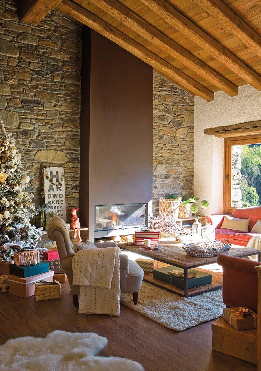 Casa r stica decorada para navidad for Decoracion de techos de salas