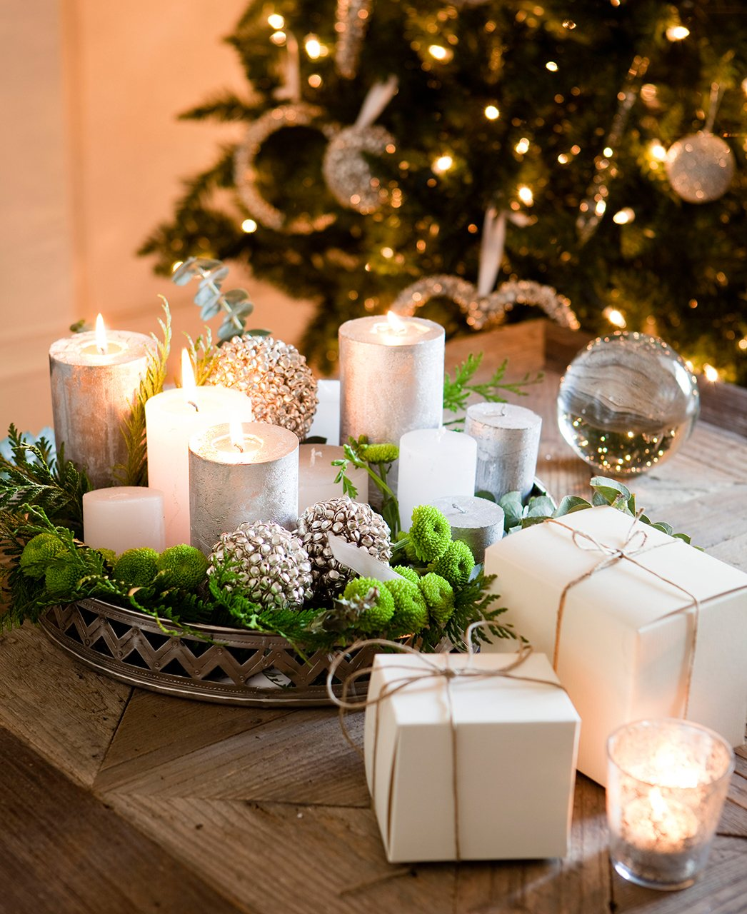 Centros De Navidad Con Pias Y Velas Gallery Of Preparando La Casa - Pias-navidad