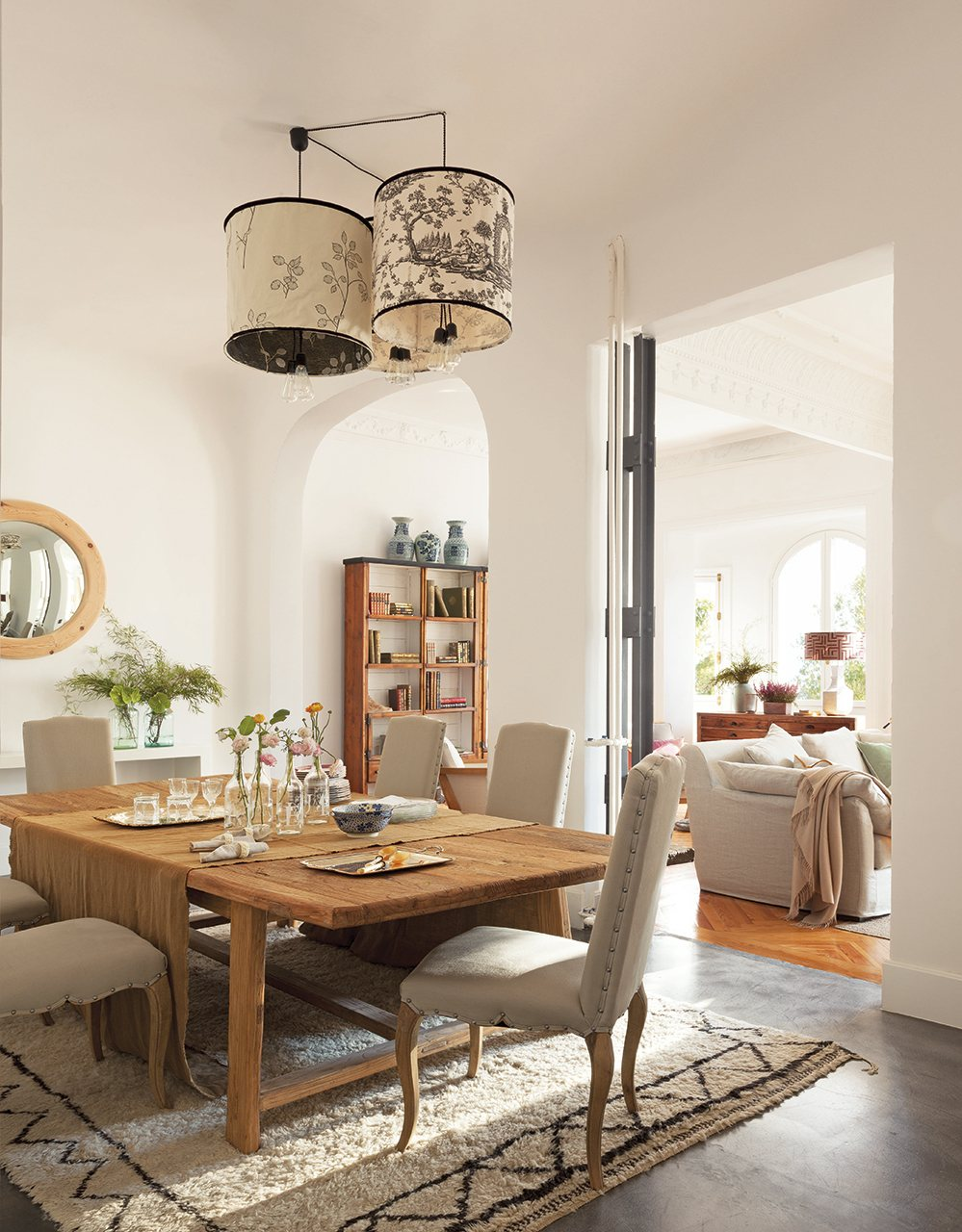 Sal n en madera y blanco - Lampara mesa comedor ...