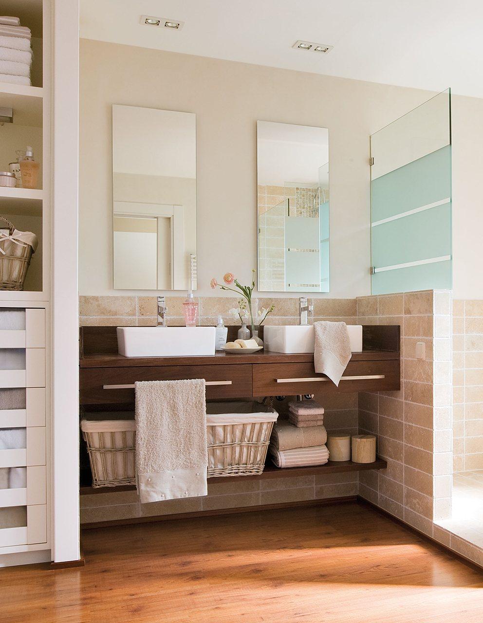 Lavabos Dobles Para Baño:Cómo conseguir un baño iluminado