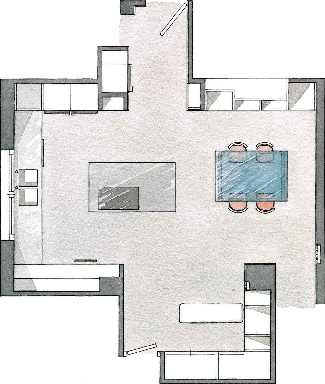 Cocinas con isla planos images for Planos para cocina mejorada