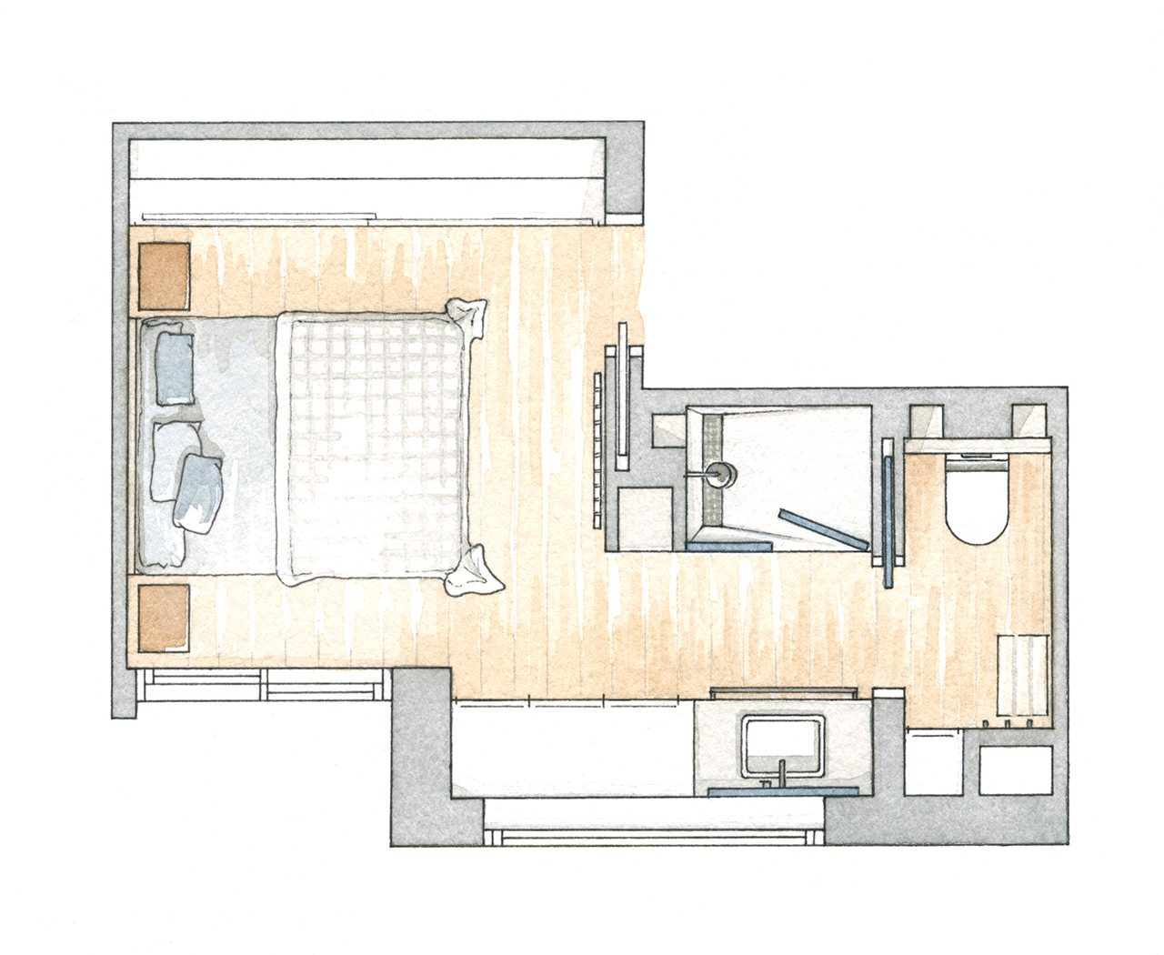 Dise o dormitorio con vestidor y ba o images for Dormitorio con bano