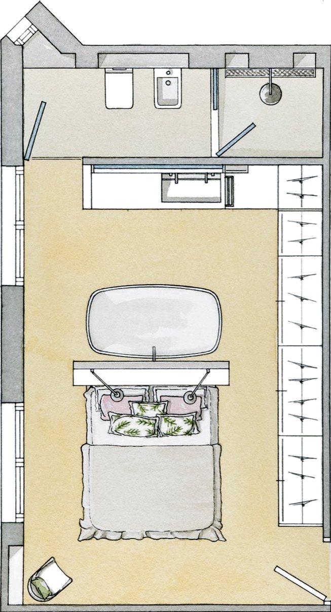 Baño Integrado En Vestidor:Un baño tras el cabecero