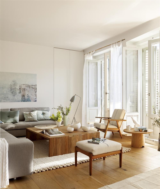 Salón con sofá en L. Aprovecha la esquina con un sofá en L
