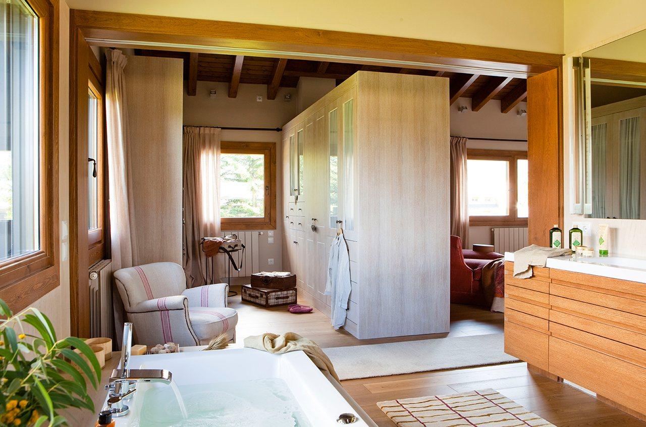 Un Ba O Abierto Al Dormitorio Y Al Vestidor ~ Vestidores En Habitaciones Pequeñas