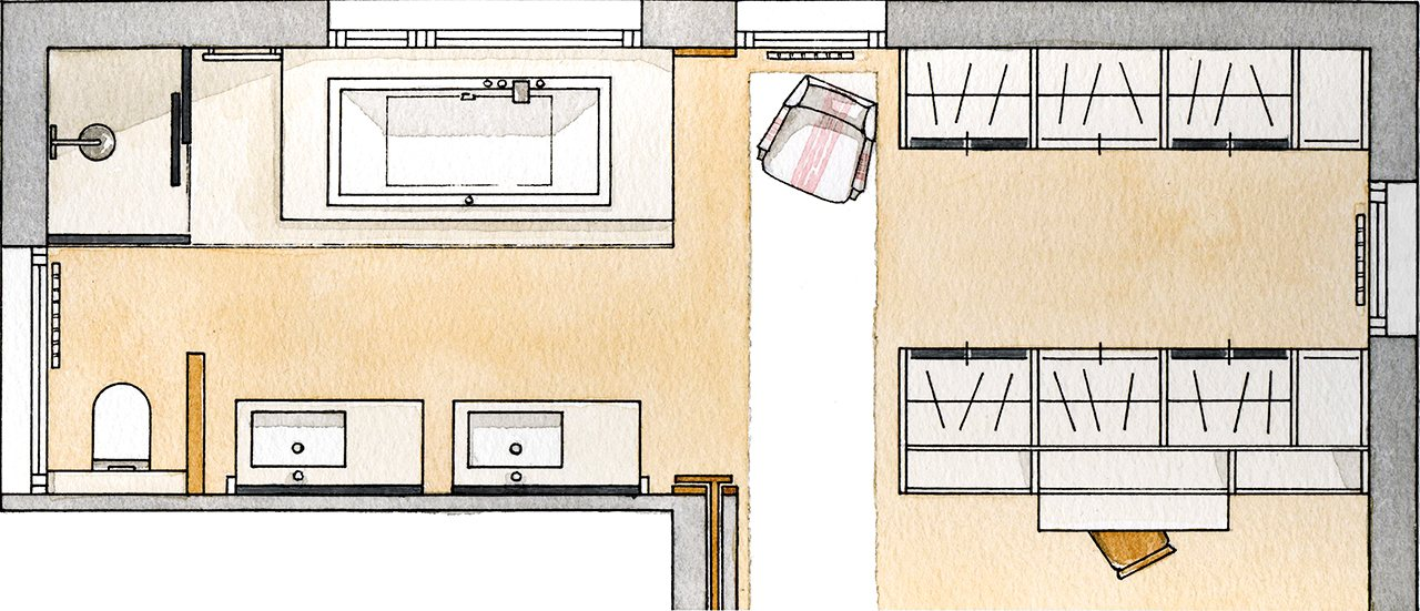 Baño Abierto Al Vestidor:Un baño abierto al dormitorio y al vestidor