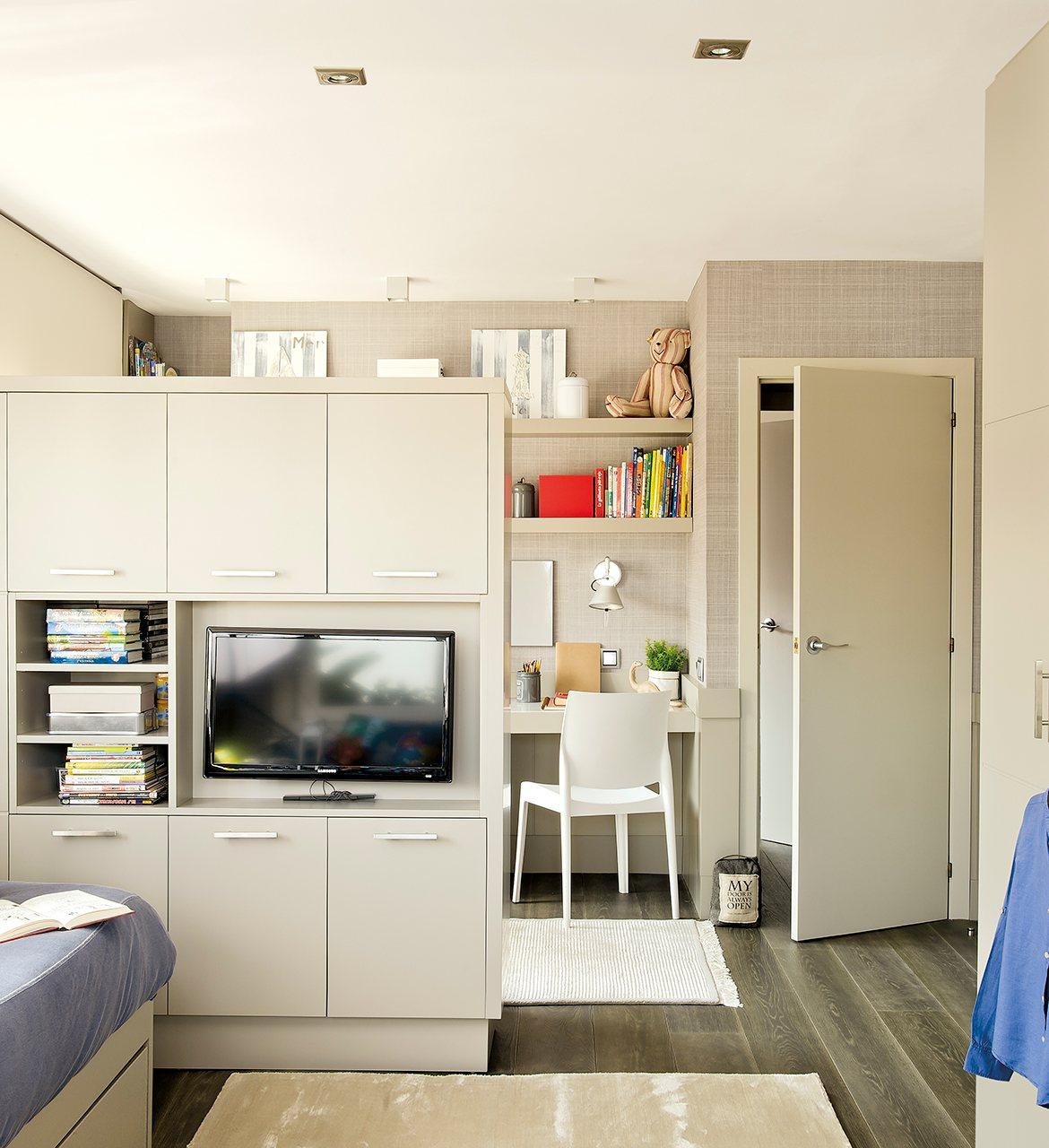 Un cuarto que crece con ellos - Dormitorio juvenil doble ...