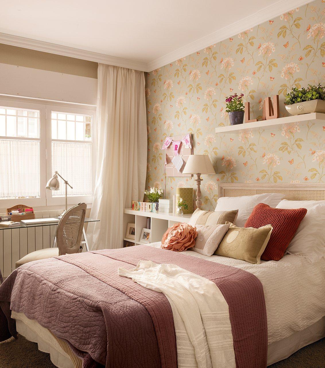 Ideas para ganar metros y ampliar visualmente pisos peque os - Papel pintado dormitorio principal ...