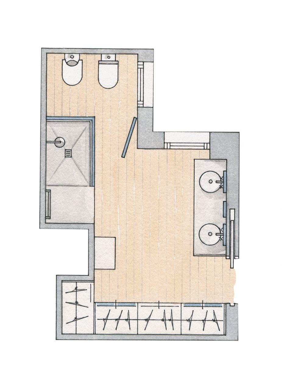 Medidas Baño En Suite:Con vestidor y pensado para compartir