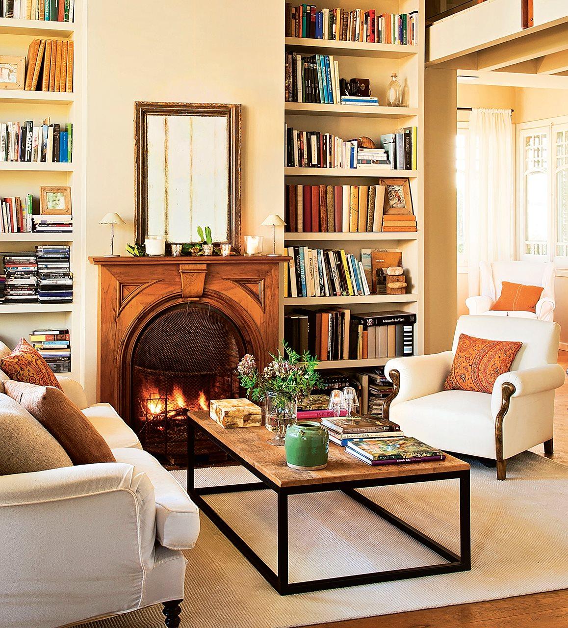 Decoraci n de salones con librer a - Muebles la chimenea catalogo ...