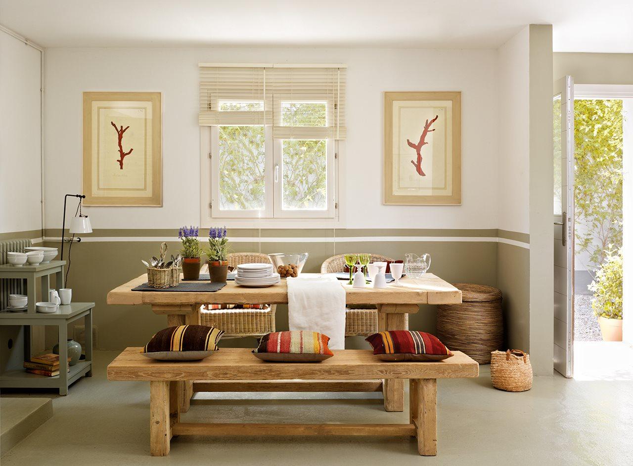 Comedor ideas de pintura roja - Comedor Con Z Calo Pintado Y Mesa De Madera Tipo Merendero Pr Ctico Y Muy Decorativo