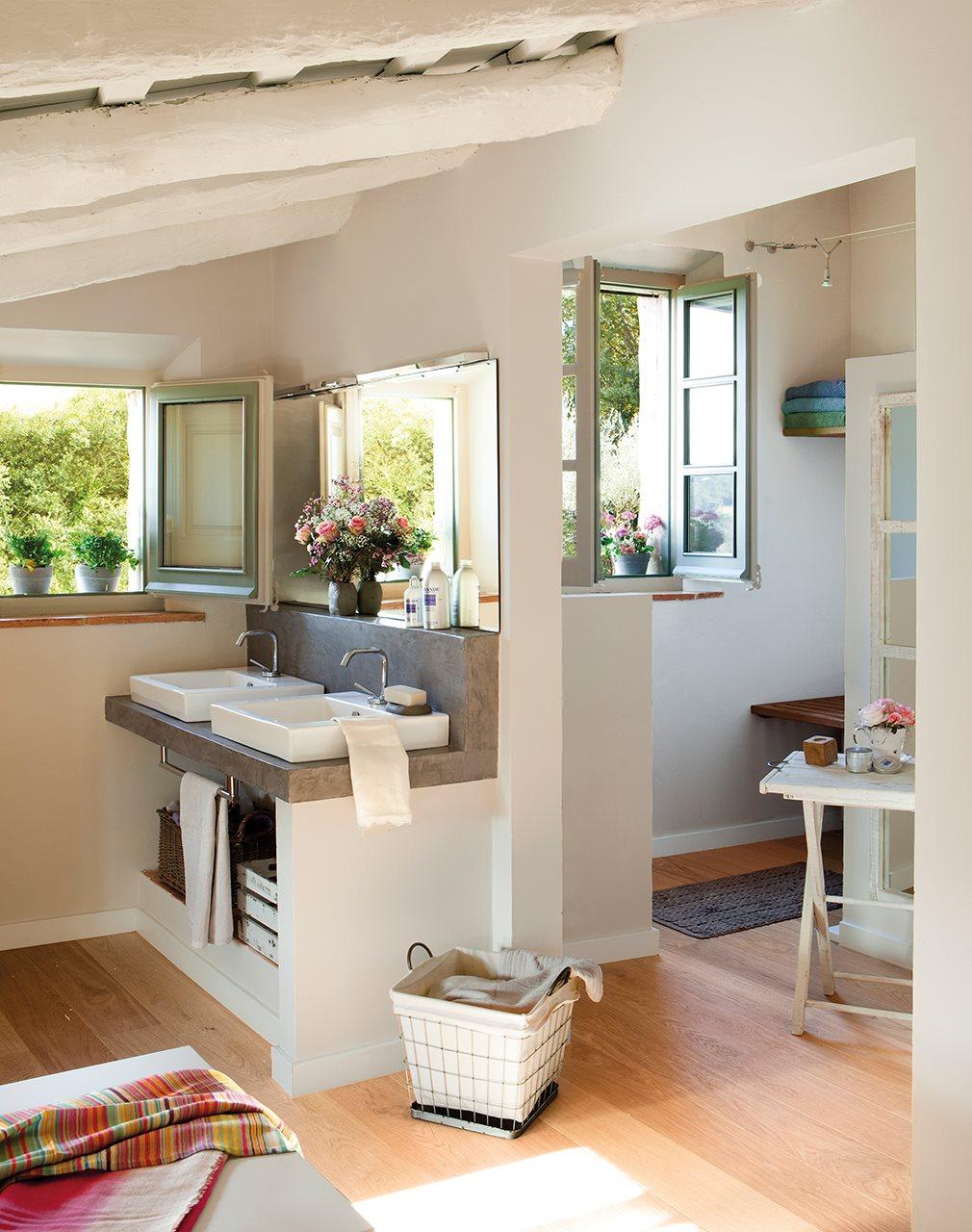 Mas a decorada con estilo vintage - Muebles bano de obra ...