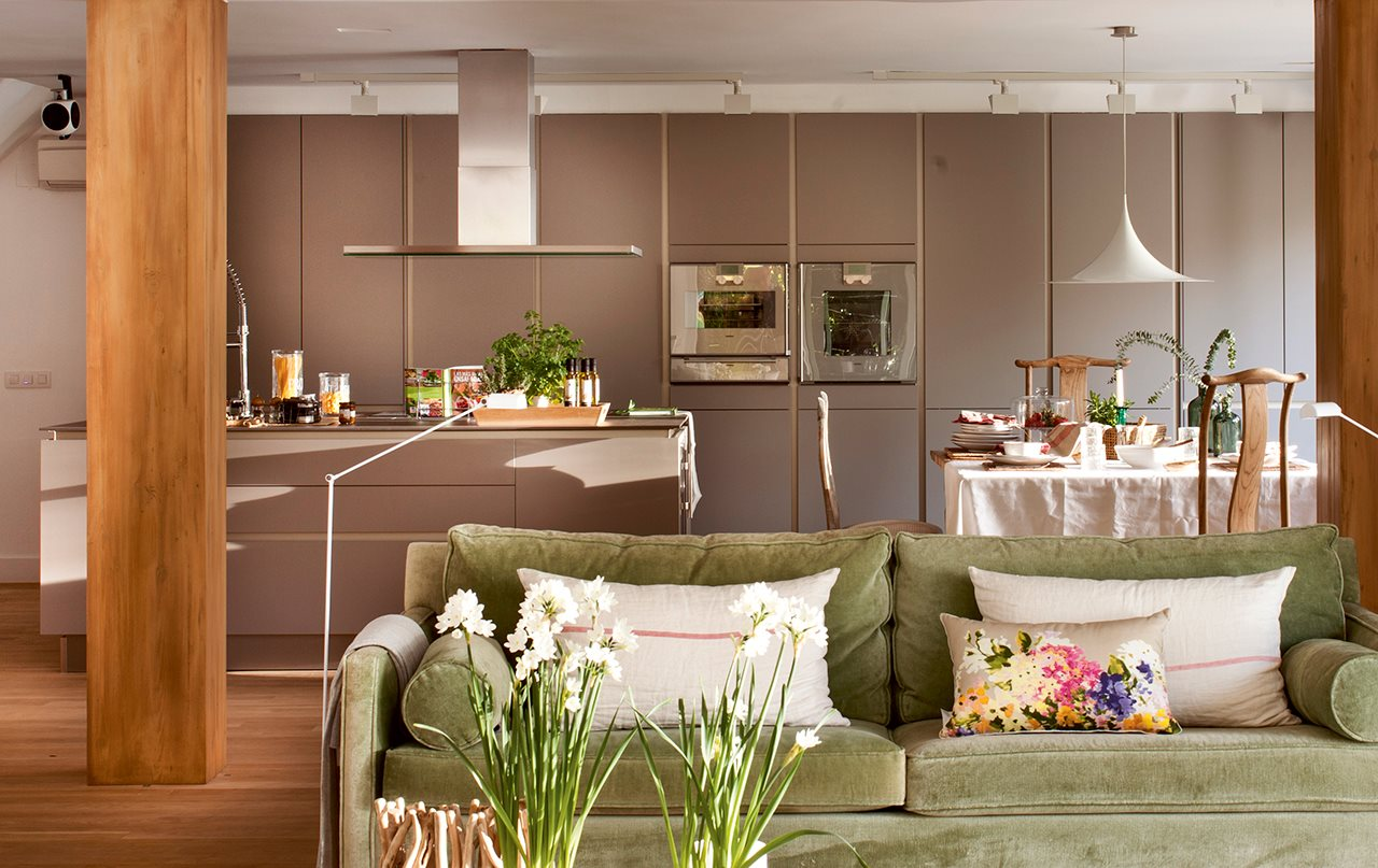 3 cocinas abiertas muy bien integradas - Salon comedor cocina ...