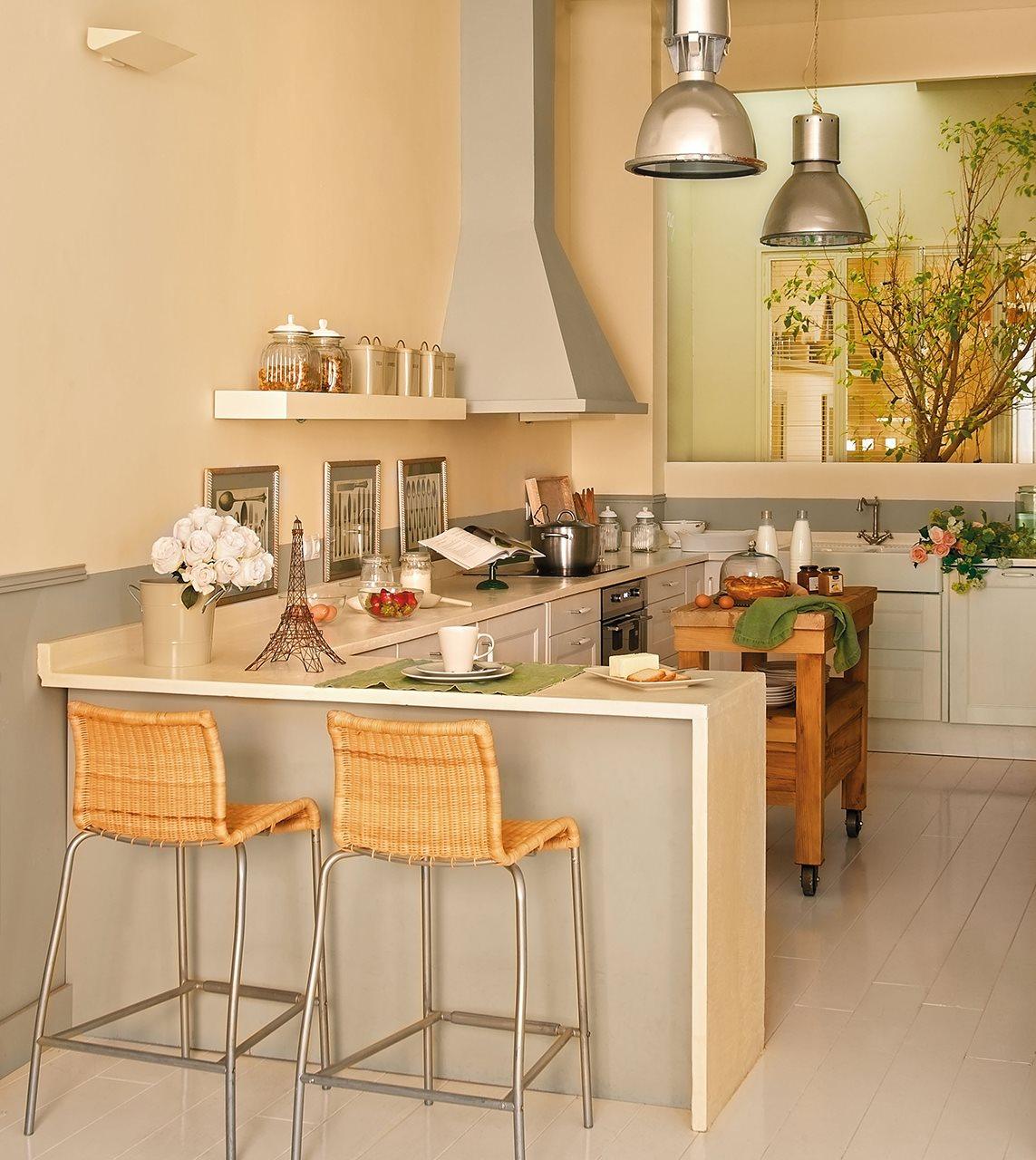 Detalhes do c u 3 cozinhas com estilos diferentes for Barras de desayuno para cocinas pequenas