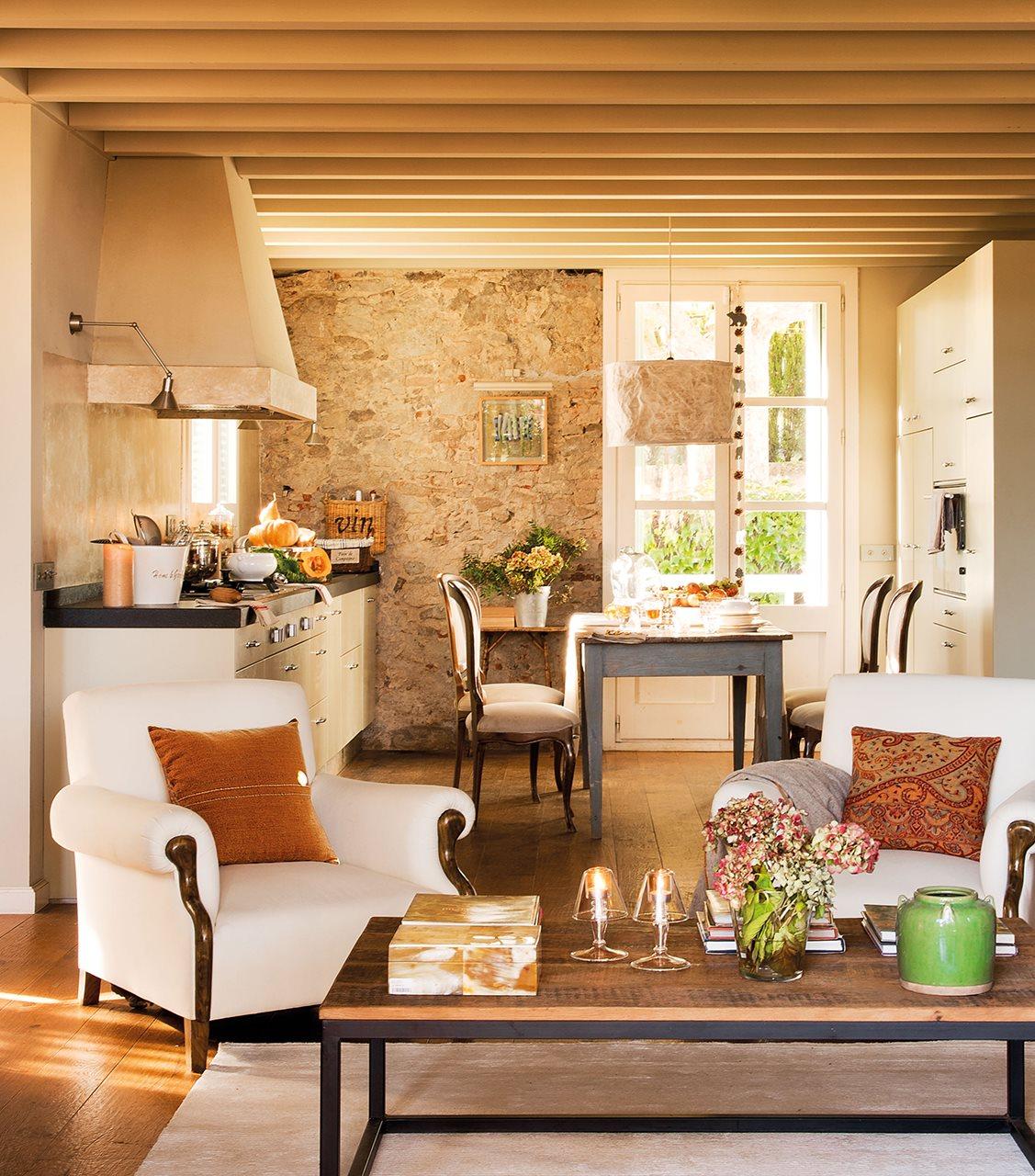 cortinas para living comedor rustico 3 cocinas abiertas muy bien integradas