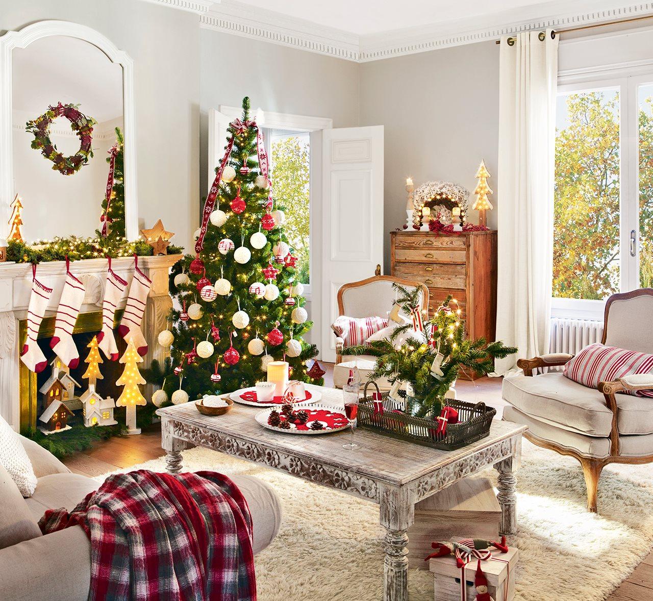 Tres estilos de navidad en el sal n cu l es el tuyo - Los mejores salones decorados ...