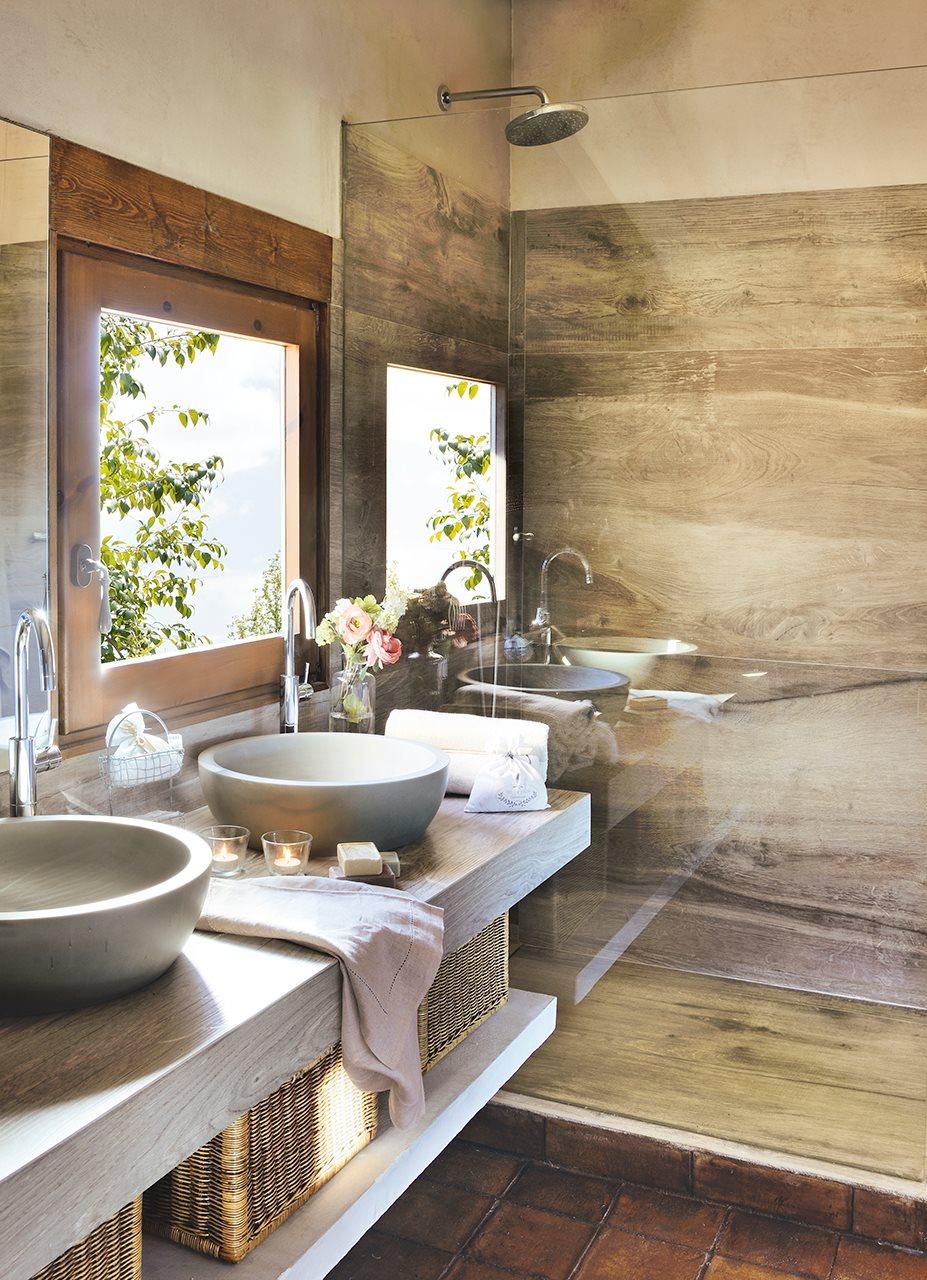 Ba os peque os con ducha for Piso rustico moderno