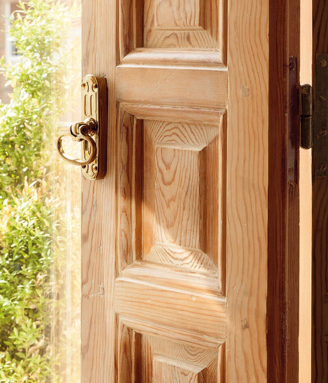 Detalle de puerta de madera. Bisagras perfectas