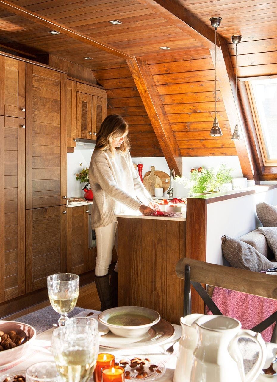Vistoso Cocina De La Cabaña Combinado Salón Viñeta - Como Decorar la ...