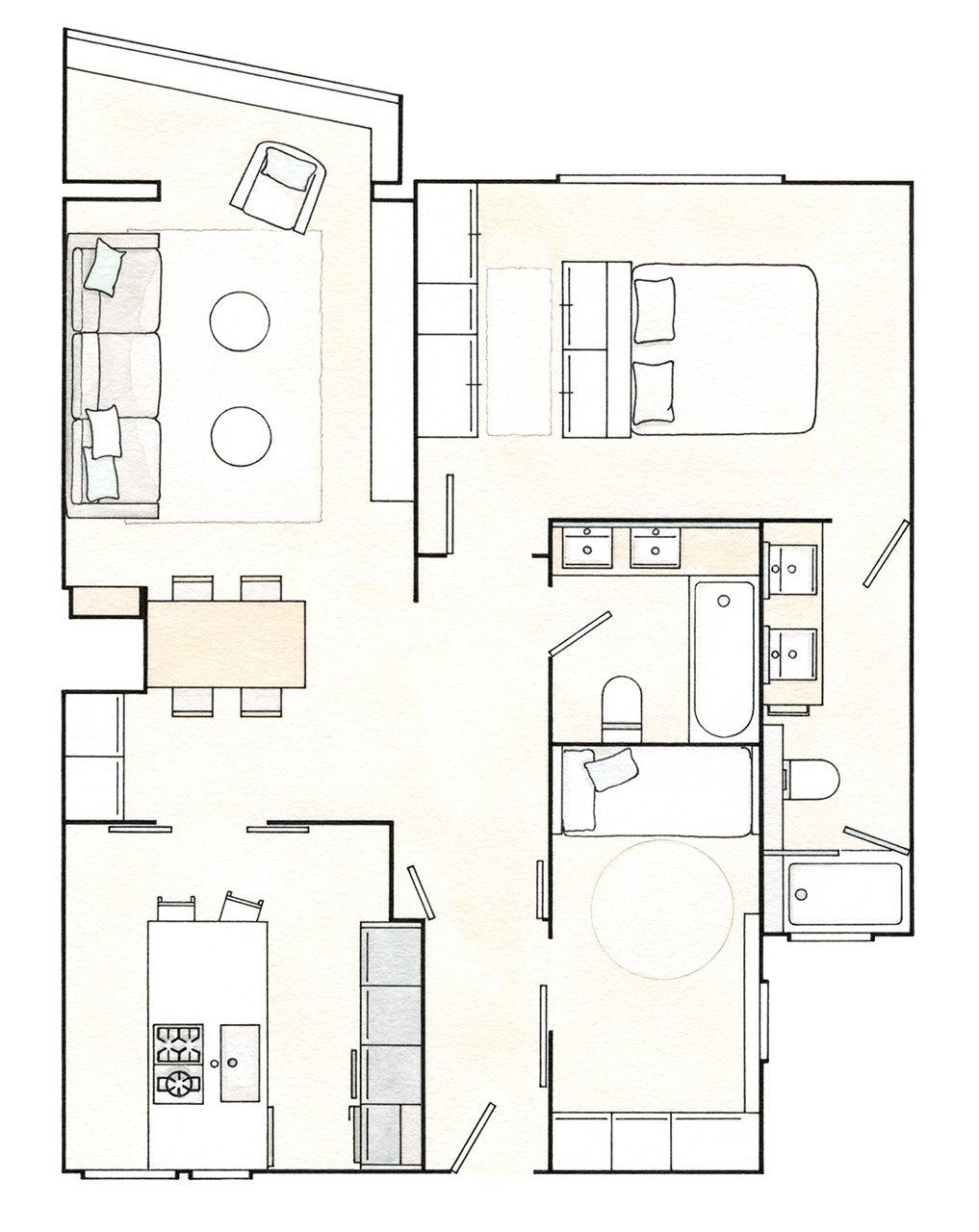 Plano piso 75m2. Plano de la casa de 75 m2