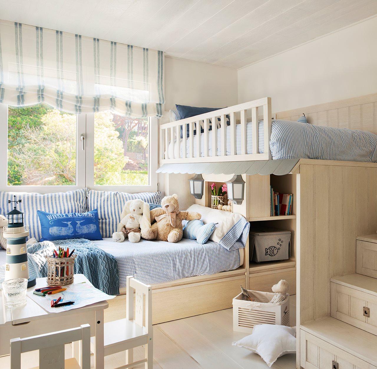 Dormitorios infantiles para ni o en azules - Dormitorios con dos camas ...