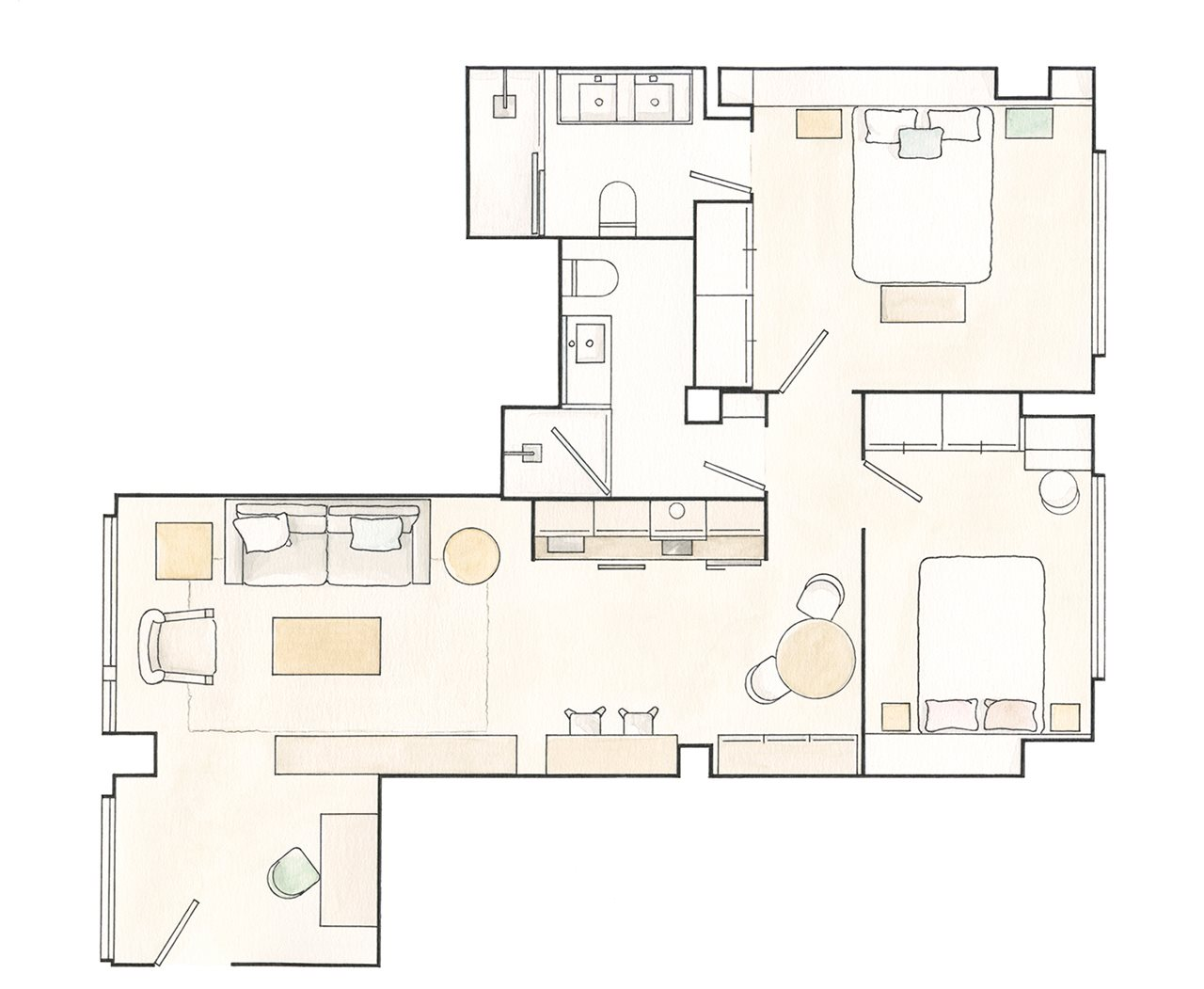Plano piso. 65 m2 Un pequeño y cómodo apartamento plano